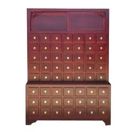 Solid Wood Chinese Pharmacy Store Display Storage Cabinet Modular With Drawer