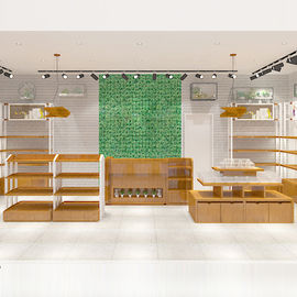 China Multi Functional Cosmetic Store Furniture Durable With Multiple Wood Texture Selection factory