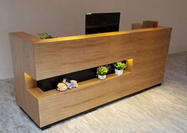 Simple Modern Wood Reception Desk L Shaped Corner Middle Groove Led Light