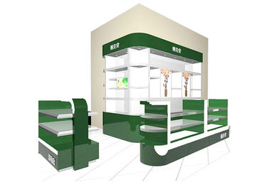China Luxury Green Cosmetic Display Showcase / Makeup Kiosk For Brand Cosmetic Stores factory