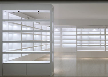 China Simple White Cosmetics Display Cabinet ,  Makeup Retail Display For Skin Care Shop factory