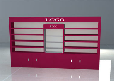 China Pink Fashion Cosmetic Store Furniture / Makeup Display Showcase With Led Light factory