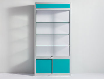 China Blue Pharmacy Display Shelves , Multi Layer Pharmacy Cabinet Design With Lock factory