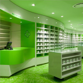 China Fashionable Pharmacy Display Cabinet , Green Retail Pharmacy Shelving Multi Combination factory
