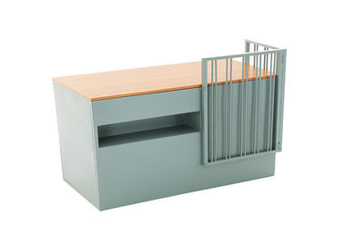 Small Colorful Wood And Metal Reception Table Furniture Clothes Office Using