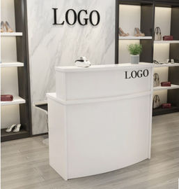 Wooden Reception Desk Display Case With Acrylic Logo For Shopping Mail
