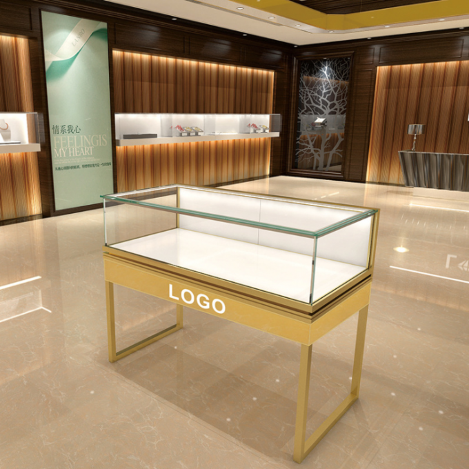 High End Metal / Plexiglass Jewelry Display Cases Shopping Mall Customized Logo