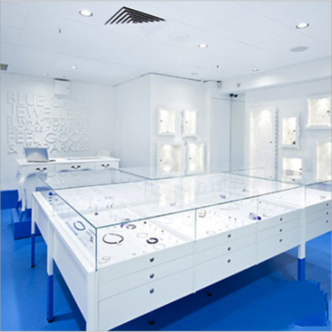 European Style Jewelry Display Showcase White Various Shapes With Led Light